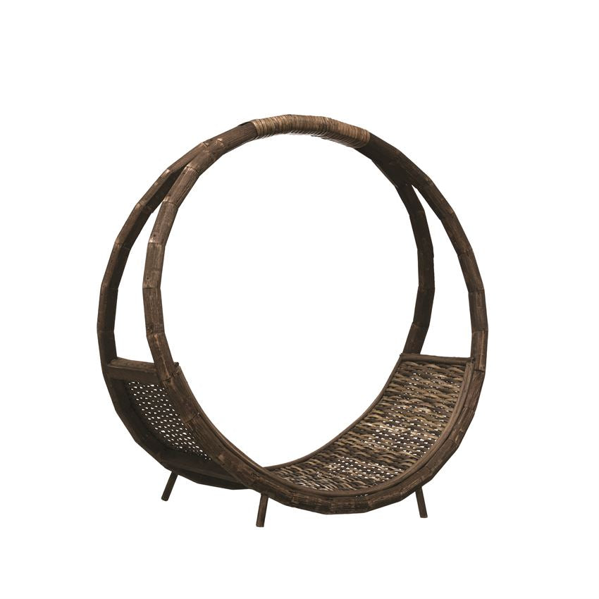 Hand-Woven Rattan Log Holder