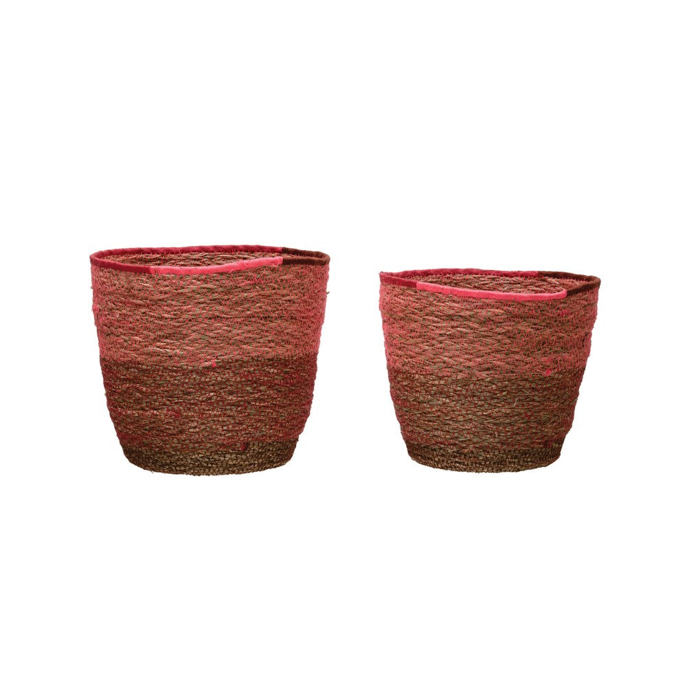 Seagrass Baskets - Pink & Red