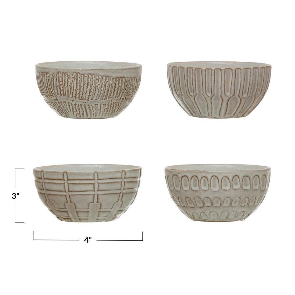 "4"" Round Debossed Bowl - White"