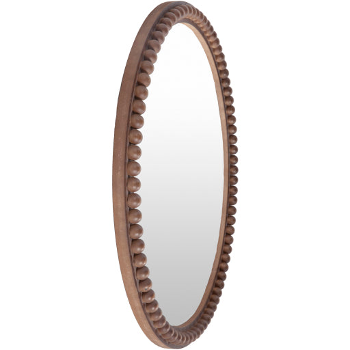Edie Round Mirror - Brown