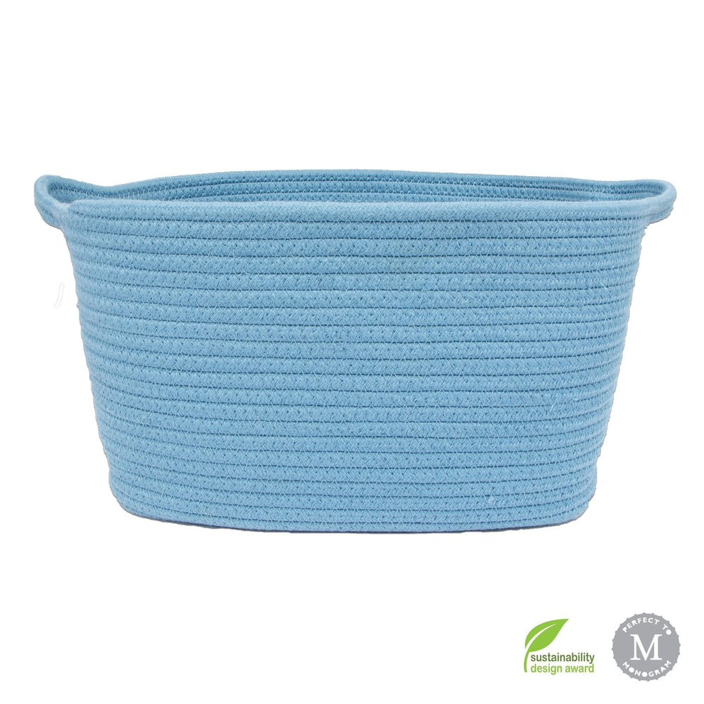 Cotton Rope Dog Bin - Blue