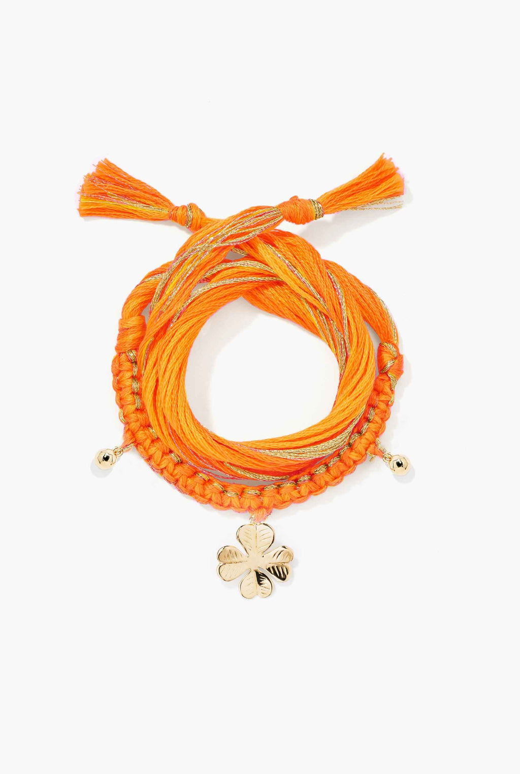 Aurélie Bidermann - Bracelet Honolulu orange, charm trèfle