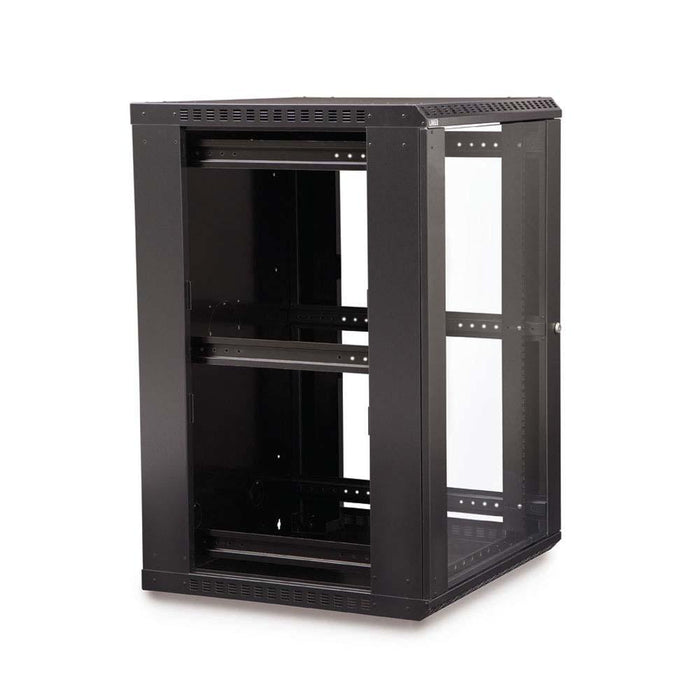 18U LINIER® Fixed Wall Mount Cabinet - Glass Door Racks & Accessories Kendall Howard