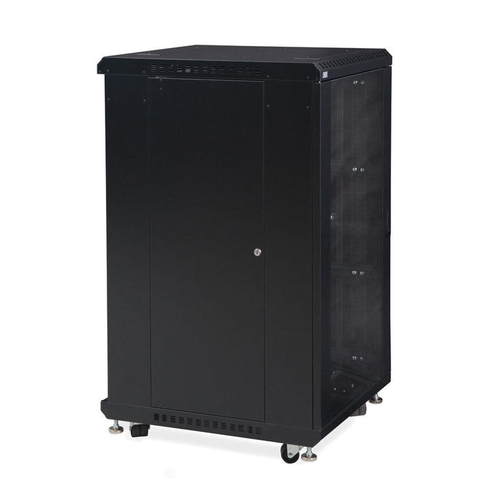 "22U LINIER® Server Cabinet - Glass/Glass Doors - 24"" Depth Racks & Accessories Kendall Howard"