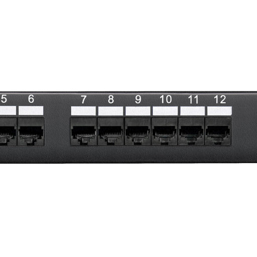Category 6 Patch Panel, RJ45, 12 Ports, Universal Wiring, 110 Style, 1U Rack Space