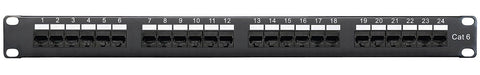 Category 6 Patch Panel, RJ45, 24 Ports, Universal Wiring, 110 Style, 1U Rack Space
