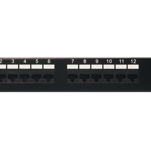 Category 5e Patch Panel, RJ45, 12 Ports, Universal Wiring, 110 Style, 1U Rack Space