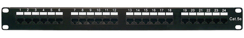 Category 5e Patch Panel, RJ45, 24 Ports, Universal Wiring, 110 Style, 1U Rack Space