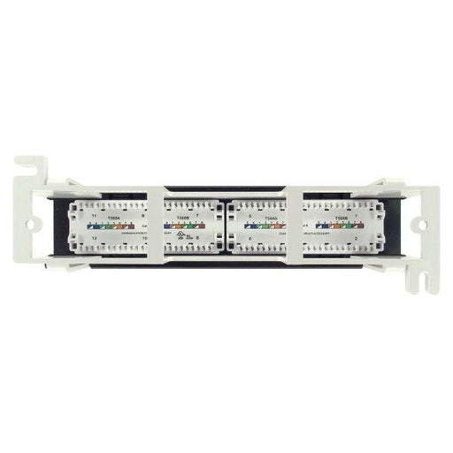 Category 6 Mini Patch Panel, RJ45, 12 Ports, Universal Wiring, Wall Mount