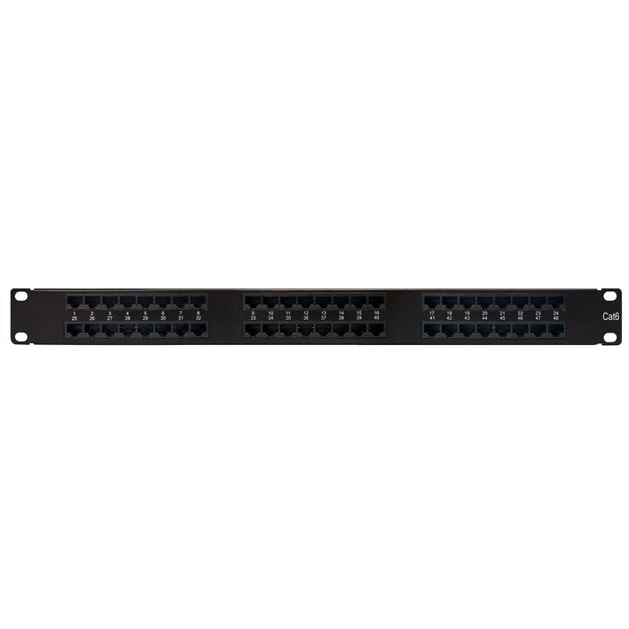 Category 6 Patch Panel, 24 Port 8 Wire, Universal Wiring, 19″ 0.5U Rack Space, 110 Type, Ultra High Density