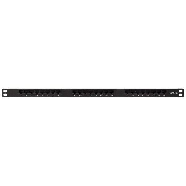 Category 5e Patch Panel, 24 Port 8 Wire, Universal Wiring, 19″ 0.5U Rack Space, 110 Type, Ultra High Density