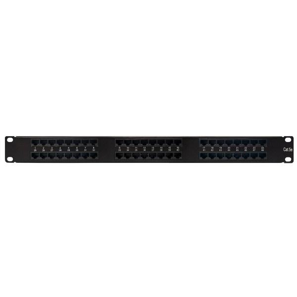 Category 5e Patch Panel, 48 Port 8 Wire, Universal Wiring, 19″ 0.5U Rack Space, 110 Type, Ultra High Density