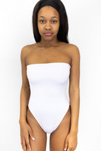 Load image into Gallery viewer, This photo shows the same one piece swimsuit, but in the color white. The model is facing us.