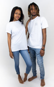 "Photo shows a couple both wearing white cotton T-shirts, both shirts have a small ""hilo"" square logo on the back."