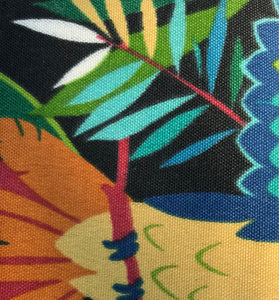 Photo shows a tropical scene with a black background. This is a fabric that can be selected when buying a zip up pouch