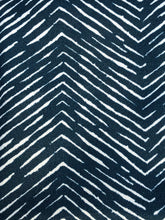 Load image into Gallery viewer, Photo shows a rustic chevron print that is navy blue and white, this fabric can be selected when buying a zip up pouch