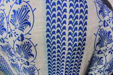 Load image into Gallery viewer, This photo is an up-close shot of the blue pattern on the kimono. The pattern is a deep blue and looks like it could be from Greece.