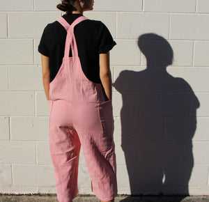 This image is of a girl wearing bubblegum pink overalls. The models back is facing us, and the overalls are pants that hit her mid calf. There are two straps on either shoulder that can be adjusted and they make an X on the back of the model.