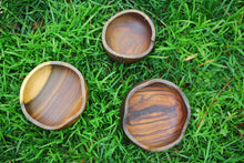Load image into Gallery viewer, Photo shows three bowls laying in a field of grass. There is a small a medium and a larger size.