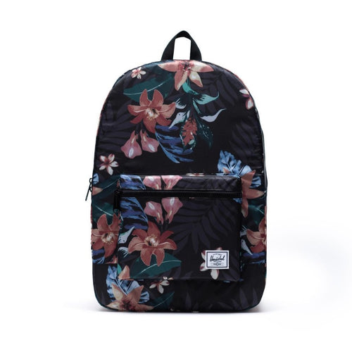 HERSCHEL PACKABLE DAYPACK BLACK FLORAL FRONT VIEW