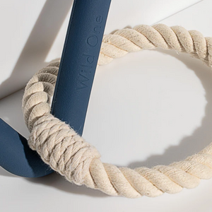 Close Up of Wild One Tug Toy Triangle with Rope in Blue