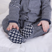 Load image into Gallery viewer, BLUE STRIPED VELOUR ONESIE