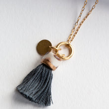 Load image into Gallery viewer, MINI TASSEL NECKLACE SLATE
