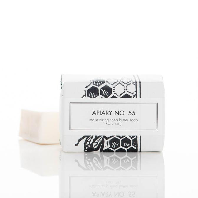 APIARY SOAP BAR packaged next to unpackaged soap bar
