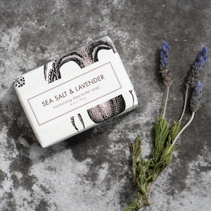 SEA SALT & LAVENDER SOAP BAR next to lavender herb