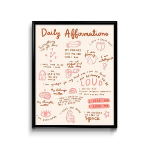 DAILY AFFIRMATIONS PRINT in frame