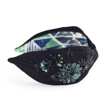 Load image into Gallery viewer, FLORA HEADBAND BLACK/GREEN SIDE VIEW