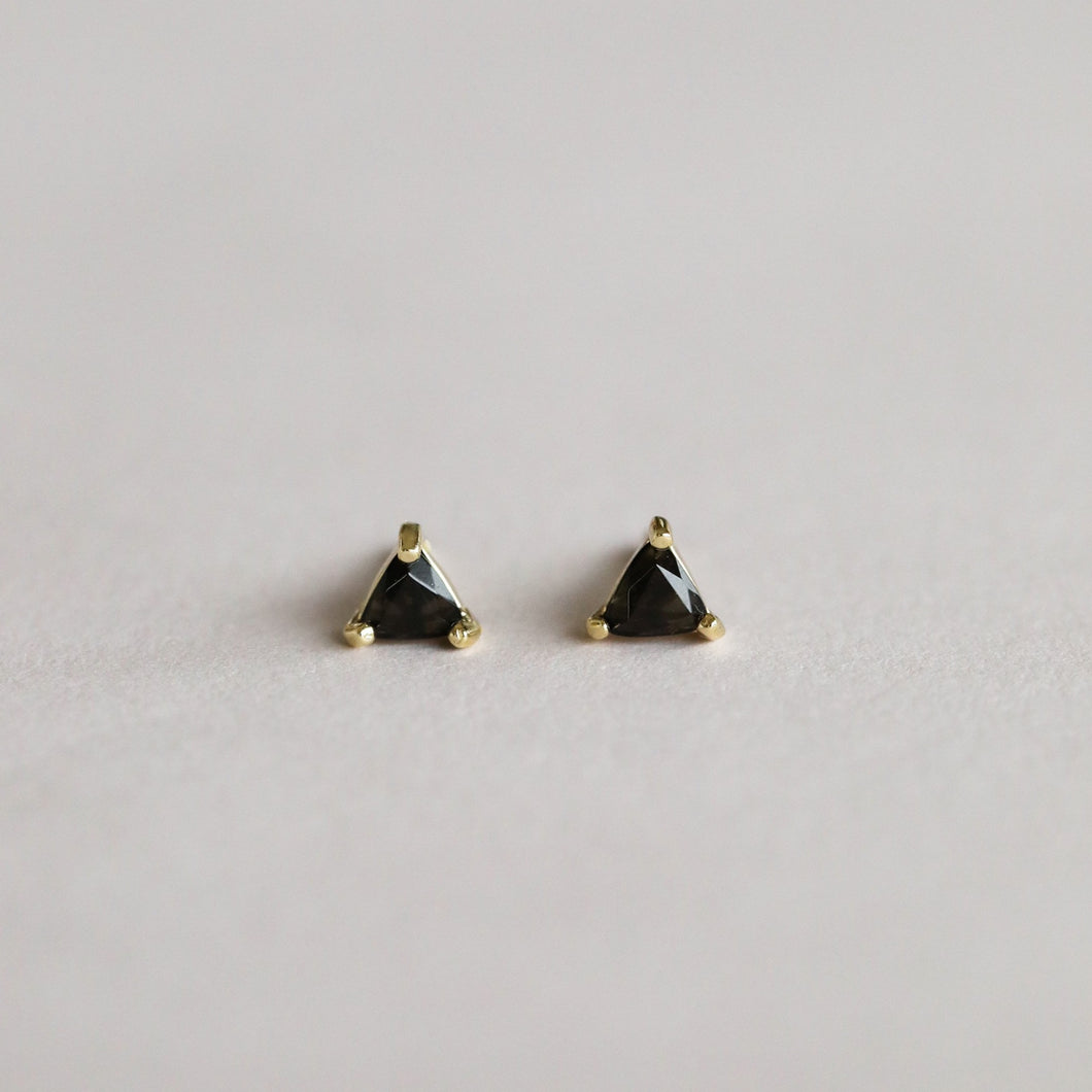 BLACK TOURMALINE MINI ENERGY GEM EARRINGS FRONT VIEW
