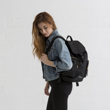 Load image into Gallery viewer, model wearing DRIFT KNAPSACK | JET BLACK side view