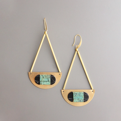 MAGNESITE AND TURQUOISE HALF MOON EARRINGS