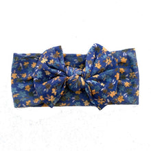 Load image into Gallery viewer, BLUE FLORAL BOW HEADBAND