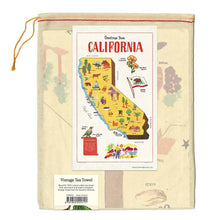 Load image into Gallery viewer, california map tea towel in muslin bag