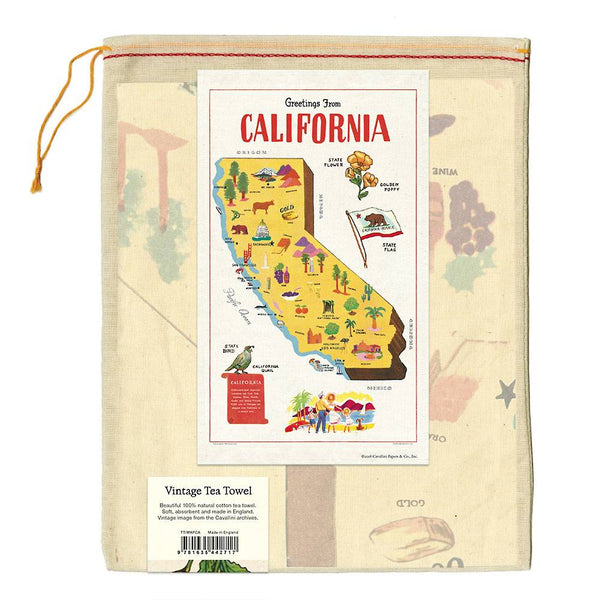 california map tea towel in muslin bag