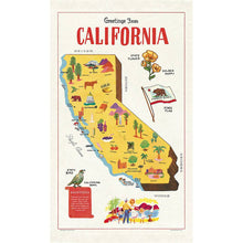 Load image into Gallery viewer, california map tea towel
