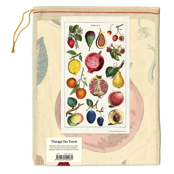 fruits tea towel in muslin bag
