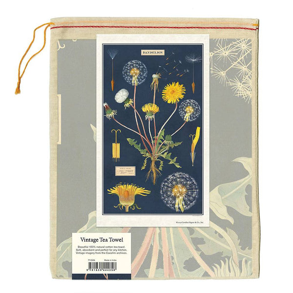 dandelion tea towel in muslin bag