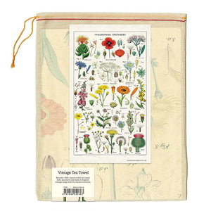 wildflowers tea towel in muslin bag
