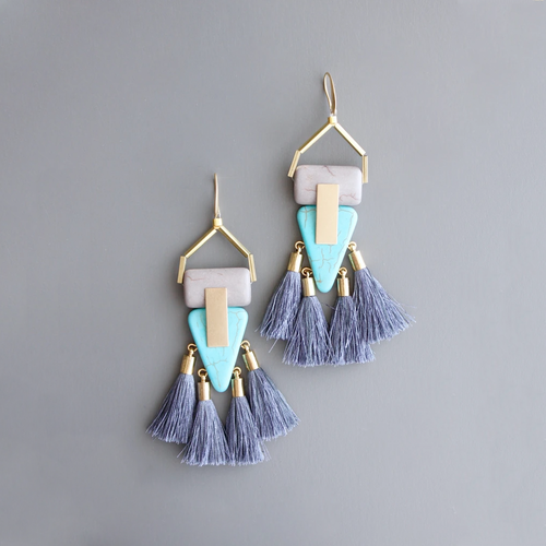 DECO MAGNESITE TASSEL EARRINGS