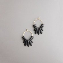 Load image into Gallery viewer, TINY BLACK CZECH GLASS HOOPS