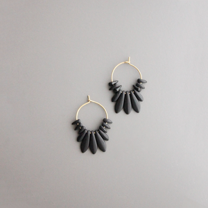 TINY BLACK CZECH GLASS HOOPS