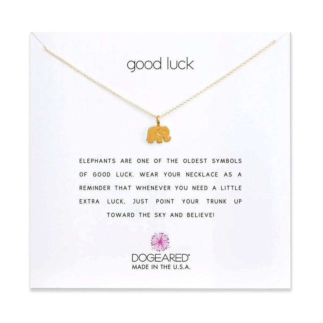 good luck elephant charm necklace on card