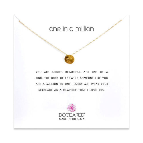 one in a million necklace in gold on card