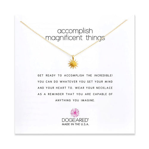 accomplish magnificent things necklace gold on card