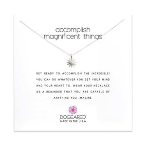 accomplish magnificent things sterling silver necklace on card