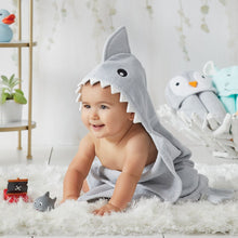 Load image into Gallery viewer, BABY WEARING BABY SHARK HOODED BATH WRAP