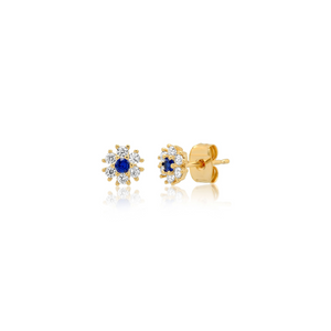 GOLD FLOWER POST EARRINGS W/ SAPPHIRE CLEAR CZ
